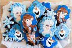 Gorgeous Disney Frozen cookies by Dany's Cakes Cookies For Kids, Fancy Cookies, Iced Cookies, Cute Cookies, Royal Icing Cookies, Sugar Cookies, Disney Frozen Cake, Disney Frozen Birthday, Disney Cookies