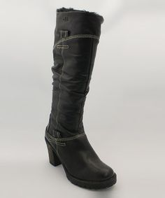 Elegantly crafted leather and fashion-forward details make these subtly rustic yet undeniably chic boots the answer for every cold-weather ensemble. Featuring a sophisticated heel and stylish slouched shaft, this pair is sure to log miles the minute feet find their way into the cozy faux fur lining.