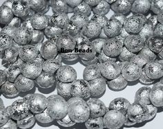 9x8mm Full Silver Etched Wide Mushroom Buttons @ www.bonbeads.com