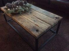 salontafel Woodworking At Home, Kitchen Dinning Room, Rustic Coffee Tables, Iron Furniture, Home Trends, Pergola, Wood Table, Interior Styling, Sweet Home
