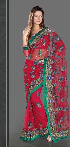 $167.64 Red Faux Georgette Saree 20988 With Unstitched Blouse
