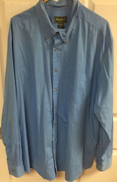 Eddie Bauer Medium Blue Long Sleeve Button Up Dress Shirt Size XXL Tall 2XL Mens #EddieBauer