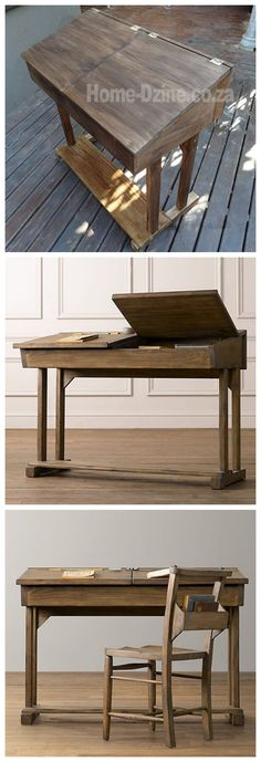 Flip-top reproduction school desk for child with materials list and step by step