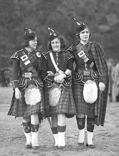 +~+~ Vintage Photograph ~+~+  Three bonnie highland lassies (Hazel Hunt, Hazel Hughes and Jean Gillies) in full regalia at Six Hour Day sports.  October 1, 1934 by Sam Hood.