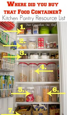 Ever wonder where and what kinds of food storage containers to buy to get organized? Check out this list! {Kitchen Pantry makeover resource list} Four Generations One Roof