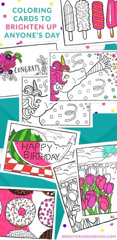 Super cute! Greeting card designs to be colored in, so you can enjoy the creative and relaxing benefits of adult coloring, and then sent off to bring someone else joy in their second life as a greeting card.  [coloring, adult coloring, kids coloring, snail mail, happy mail, stocking stuffer, birthday card, coloring card, colouring, kids activities, small business, holiday cards, congrats cards, cute cards, thank you cards]