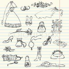 Stock vector of 'Wedding set of cute glamorous doodles'