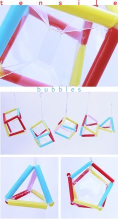 STEM Activities: Make geometric bubbles that illustrate tensile structures to kids - Wonderful art and science project for physics! Stem Science, Preschool Science, Teaching Science, Science For Kids, Physical Science, Science Classroom, Science Education, Earth Science, Health Education