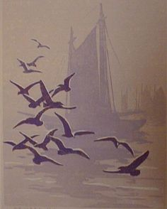 ✨  Tod Lindenmuth, American (1885-1976) - Gulls and Fishing Fleet, c. 1920, Color linocut, 15 3/4 in. x 12 1/4 in. (400 mm x 311 mm)