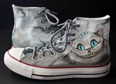 Cheshire Cat Shoes Alice in Wonderland Hand by catinthehatetsy