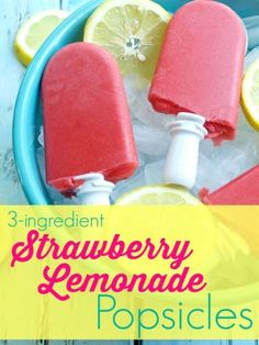 3-ingredient Strawberry Lemonade Popsicle recipe. Such an easy popsicle recipe and it's all natural ingredients--nothing fake here! This is the real deal and the kids love these for a healthy and light summer dessert. Great summer treat idea. I would make a whole bunch of these for a party! They are vegan and gluten-free, of course.