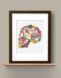 Pressed Flower Sideview Skull by fromroses on Etsy, $15.00