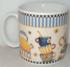 Teapots Sakura Debbie Mumm Teapot Honey Flowers Yellow Blue Coffee Cup Mug  ~ This Item is for sale at LB General Store http://stores.ebay.com/LB-General-Store ~Free Domestic Shipping ~