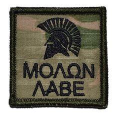 Spartan Helmet Molon Labe 2x2 Military Patch / Morale Patch - Multicam