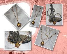Correntes em crochê com fio metalizado ouro, sendo que uma delas contém miçangas; pingente em crochê com aço ouro velho, com pedras e miçangas plásticas de boa qualidade; tons caramelo, cobre e marrom.