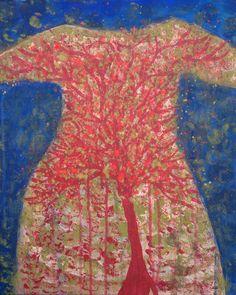 Robe arbre, acrylique sur toile 46x38 cm 2013 - Valérie Belmokhtar#painting dress serie