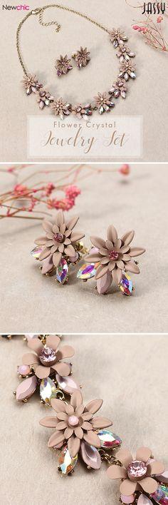 [Newchic Online Shopping] JASSY® Elegant Flower Crystal Jewelry Set - Best Gift for Women