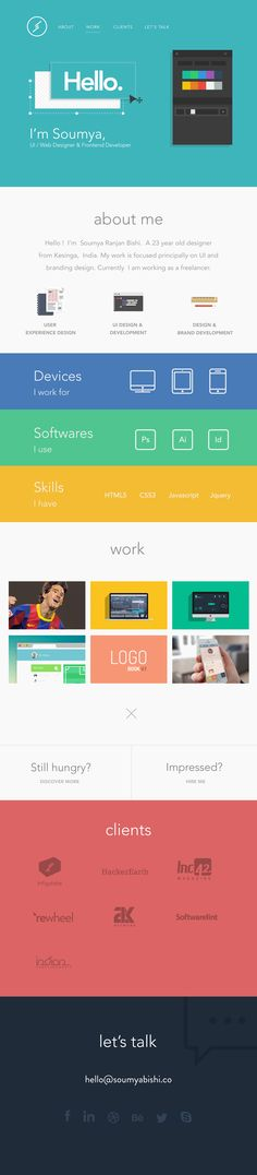 I like the flat design and how her landing page is like a photoshop style.