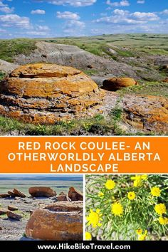 Red Rock Coulee - An Otherworldly Alberta Landscape. There are numerous places in Alberta and Saskatchewan, Canada that have unusual rock formations and the area is famous for its finds of fossils, dinosaurs, etc. Canadian Travel, Canadian Rockies, Canadian Prairies, Quebec, Montreal, Vancouver, Columbia, Voyage Canada, Toronto