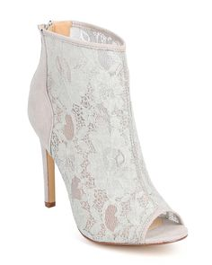 Liliana DB96 Women Mix Media Lace Peep Toe Single Sole Stiletto Bootie - Grey -- A special product just for you. See it now! : Boots Shoes
