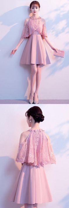 A-line High Neck Satin Pink Homecoming Dresses Party Dresses A-line Stehkragen Satin Pink Ballkleider Party Kleider Kleider Kleid Dress Outfits, Fashion Dresses, Cute Outfits, Party Gowns, Party Dress, Pretty Dresses, Beautiful Dresses, Mode Kpop, Short Dresses