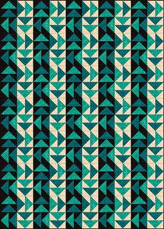 View Full-Size (would be neat to do black, and replace the teal/green triangles with shades of orange/yellow as a sunset quilt)