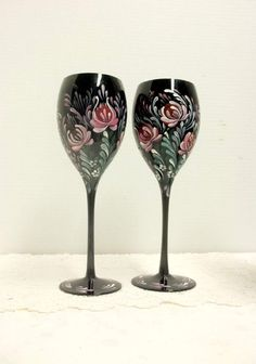 Wine Glasses Black Glass Hand Painted by FolkArtByNancy on Etsy Kitchen Decor Sets, Norwegian Rosemaling, Hand Painted Wine Glasses, Scandinavian Art, Enamel Paint, Black Glass, Colored Glass, Folk Art, Etsy