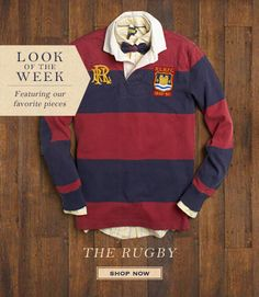 We love Rugby Ralph Lauren's classic red and navy block stripe shirt but we're not convinced about the bow tie!