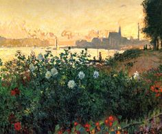 Claude Monet. Argenteuil, Flowers by the Riverbank (1877).