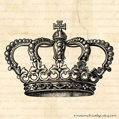Crown - Digital Image Download  for Iron on Transfer, Papercrafts, Pillows, T-Shirts, Tote Bags, Burlap, No 00004. $1.00, via Etsy.