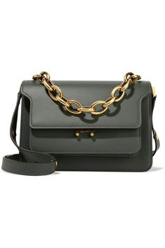 Marni Trunk medium shoulder bag in emerald thyme leather with gold chain handle