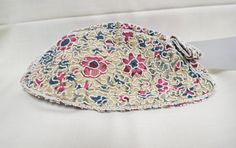 Vintage Floral Beaded Purse Formal Wear Clutch Dance Purse Crepe Glass Beads by KansasKardsStudio on Etsy