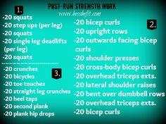 Post run strength workout Circuit Training Workouts, Running Workouts, At Home Workouts, Interval Workouts, Fitness Diet, Health Fitness, Spartan Sprint, Spartan Workout, Workout Challenge