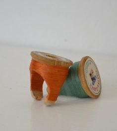 awesomeetsy:  Vintage Wooden Spool Ring - Coral Size 7