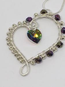 Wire Wrapped Swarovski Heart Pendant                      – Jewelz Galore