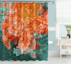 Abstract art shower curtain, Coral, Blue-Green, Green, Golden Yellow – Abstract Art Home