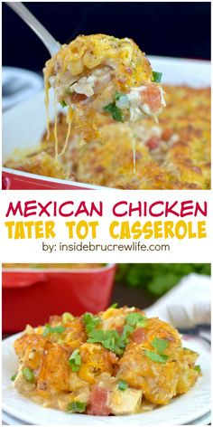Mexican chicken cheesy tater tot casserole