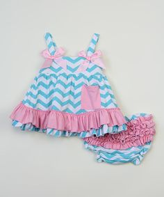 Pink & Blue Chevron Swing Top & Diaper Cover - Infant by Tutus by Tutu AND Lulu #zulily #zulilyfinds