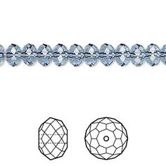 Bead, Swarovski® crystals, Crystal Passions®, denim blue, 6x4mm faceted rondelle (5040). Sold per pkg of 12.