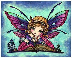 8x10 Bookworm Fairy Fantasy Art Print by Hannah Lynn. $12.00, via Etsy.