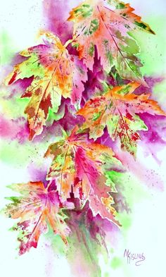 PASTEL LEAVES (watercolor) by Martha Kisling was painted by using real leaves as a stamp and then following with positive and negative painting to refine the shapes and pull the composition together.