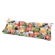 Finish your outdoor seating in style and comfort with the Greendale Home Fashions 51 x 18 in. It's circle tack tufted with string ties to fasten securely to your outdoor swing bench. Outdoor Cushions And Pillows, Patio Furniture Cushions, Bench Cushions, Outdoor Furniture, Aloha Black, Tie Pattern, Tropical Colors, Outdoor Seating