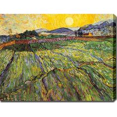 Vincent van Gogh 'Enclosed Field with Rising Sun Saint-Remy' Oil on Canvas Art