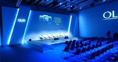 The blue LED's add a sense of sadness to the show. Sadness, is a theme portrayed quite often in this show. Bühnen Design, Stand Design, Wall Design, Event Design, Interior Design, Event Lighting, Stage Lighting, Lighting Design, Wedding Lighting