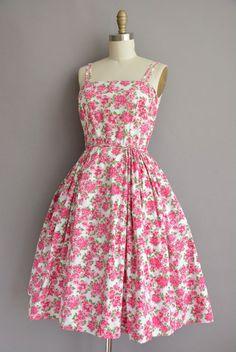 50 pink floral cotton vintage sun dress / by simplicityisbliss