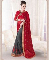 Grey & Red Color Georgette Party Wear Sarees : Ruprani Collection YF-27445