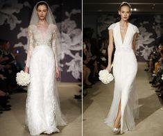 Os vestidos tomara-que-caia são os queridinhos das brasileiras, mas uma foste tendência que vem chegando como substituto são os modelos em V. Coleção Carolina Herrera(Vogue)