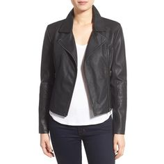 cupcakes and cashmere 'Sid' Faux Leather Moto Jacket (6,935 PHP) ❤ liked on Polyvore featuring outerwear, jackets, black, slim jacket, asymmetrical jacket, vegan moto jacket, faux leather biker jacket and motorcycle jacket
