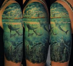 city under the sea tattoo done by Den Yakovlev