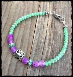 Dainty Mint Green AB Crystals and Matte Plum Purple Dragon